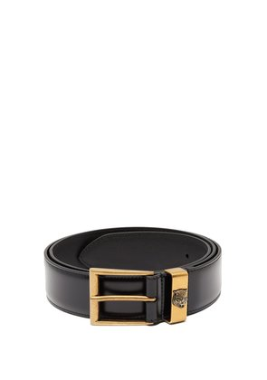 Tiger-embossed leather belt