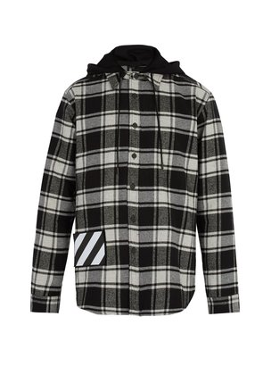 Checked cotton-blend hooded shirt