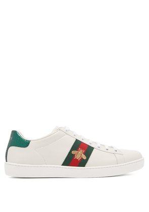 Ace bee-embroidered leather trainers