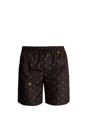 Star and crown-print swim shorts