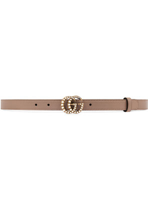 Gucci pearl Double G buckle belt - Nude & Neutrals
