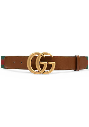 Gucci Web belt with Double G buckle - Brown