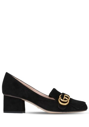 55MM MARMONT FRINGED SUEDE PUMPS