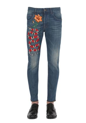 17.5CM SNAKE STONE WASHED DENIM JEANS