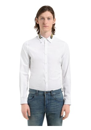 TIGER COLLAR COTTON POPLIN SHIRT