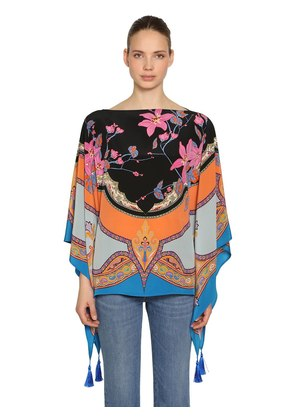 PRINTED SILK SATIN PONCHO