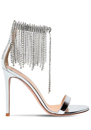 100MM FRINGED METALLIC LEATHER SANDALS