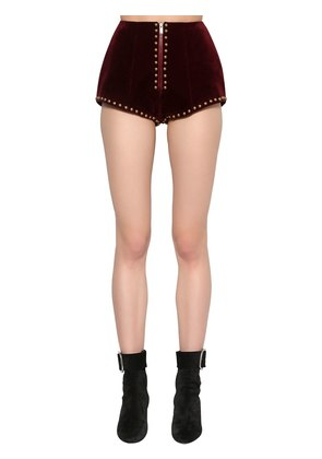 STUDDED COTTON VELVET MINI SHORTS