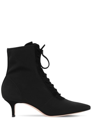 55MM STRETCH JERSEY LACE-UP ANKLE BOOTS