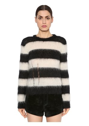 DESTROYED BRUSHED MOHAIR KNIT SWEATER