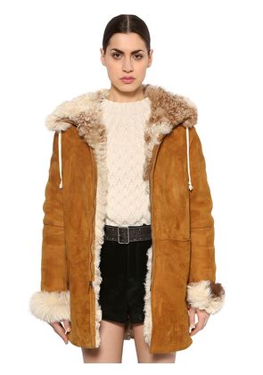 HOODED SUEDE SHEARLING JACKET