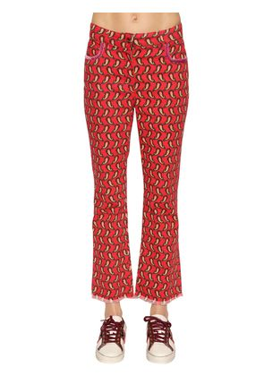 PRINTED COTTON DENIM CROPPED JEANS