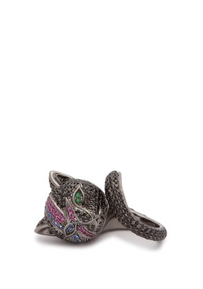 Bowie Cat rhodium-plated silver ring