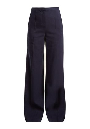 High-rise wide-leg crepe trousers