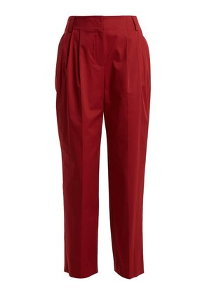 Pleated stretch-cotton trousers