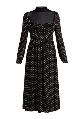Polka dot-print silk dress