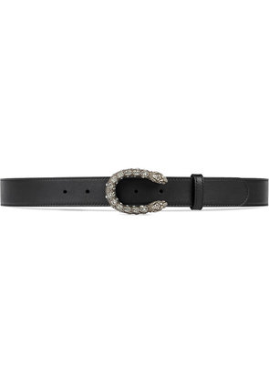 Gucci Leather belt with crystal Dionysus buckle - Black
