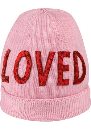Gucci Wool hat with sequin 'Loved' - Pink & Purple