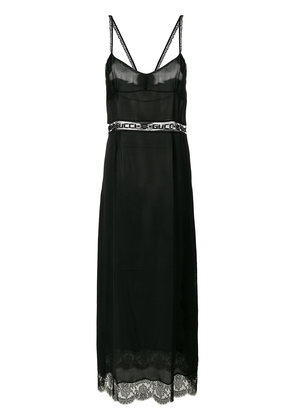 Gucci GG Mesh insert slip dress - Black