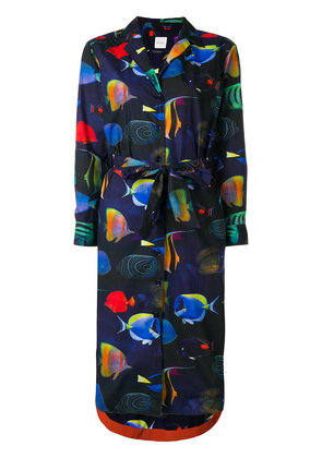 Paul Smith fish print shirt dress - Blue