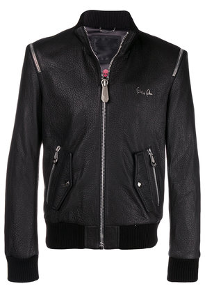 Philipp Plein shoulder zip leather jacket - Black