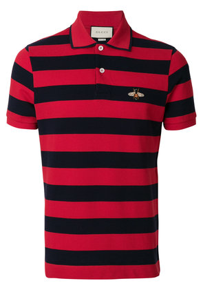 Gucci bee patch polo shirt - Red