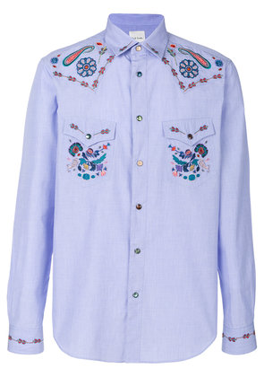 Paul Smith embroidered western shirt - Blue