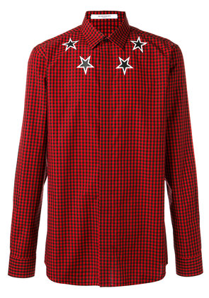 Givenchy checked star shirt - Red