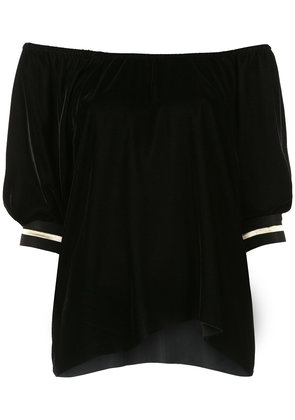 À La Garçonne velvet off the shoulder blouse - Black