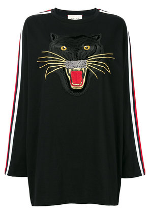 Gucci embroidered panther T-shirt - Black