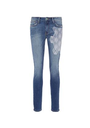 'The Hyde' geometric embroidered skinny jeans