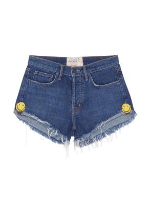 'The Doll' smiley embroidered denim shorts