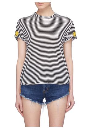 'The Two Hundred' smiley embroidered stripe T-shirt