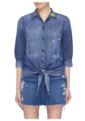 'The Moss' slogan embroidered tie front denim blouse