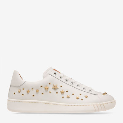 Wiera White, Womens plain calf leather embroidered trainers in white Bally