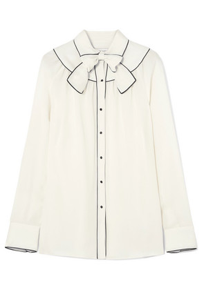 Valentino - Pussy-bow Piped Silk Blouse - Cream