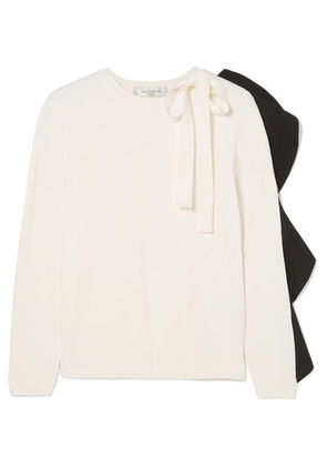 Valentino - Bow-detailed Ruffled Knitted Sweater - Black