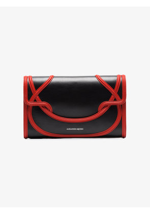 Alexander McQueen Black And Red Wikka Leather Clutch