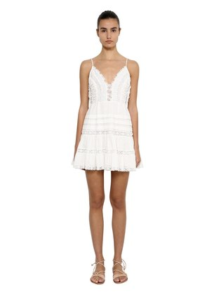 COTTON SWISS DOT LACE MINI DRESS