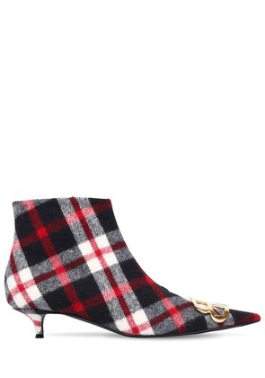 40MM BB CHECKED FLANNEL ANKLE BOOTS