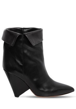 90MM LULIANA LEATHER ANKLE BOOTS