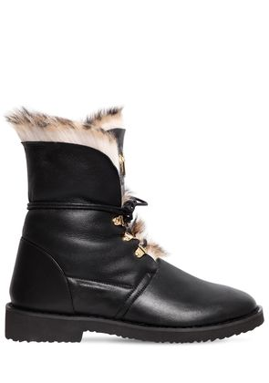 30MM LEATHER & RABBIT FUR ANKLE BOOTS