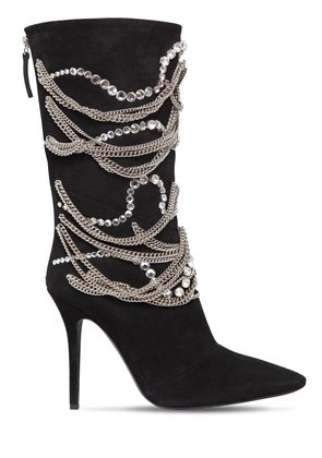105MM CHAINS & CRYSTALS SUEDE BOOTS