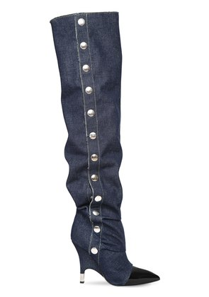 110MM SLOUCHY DENIM OVER THE KNEE BOOTS