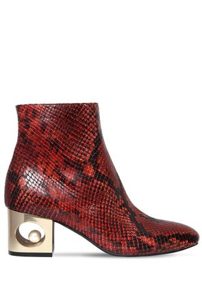 55MM TIFFANY SNAKE PRINTED LEATHER BOOTS