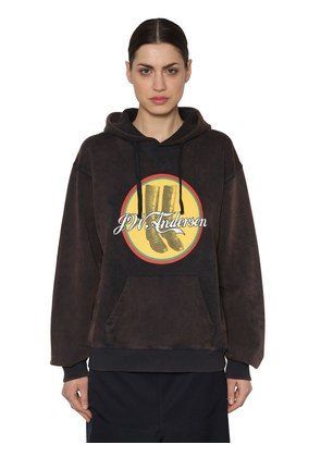 PRINTED HOODED WASHED JERSEY SWEATSHIRT