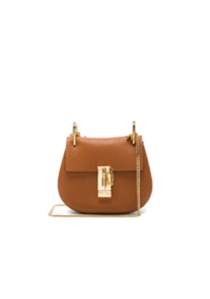 Chloe Mini Grained Leather Drew Bag in Brown