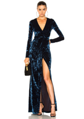 GALVAN Hammered Velvet Long Sleeved Dress in Blue