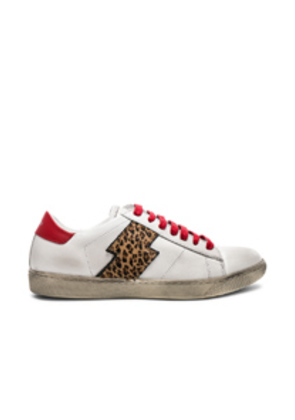 Amiri Viper Leopard Calf Hair Low Sneakers in White