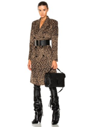 Saint Laurent Cashmere Leopard Print Coat in Animal,Neutrals